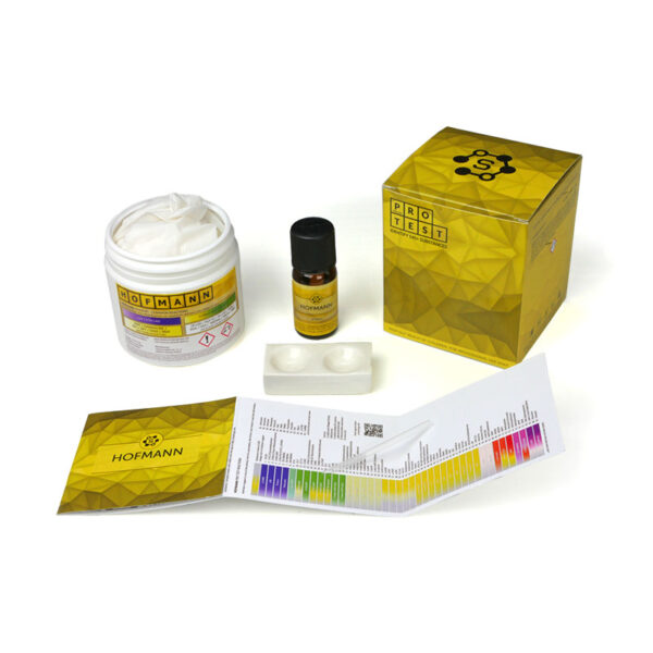 Hofmann reagent test kit includes the reagent, a spatula, a reaction plate, instructions and reaction color chart