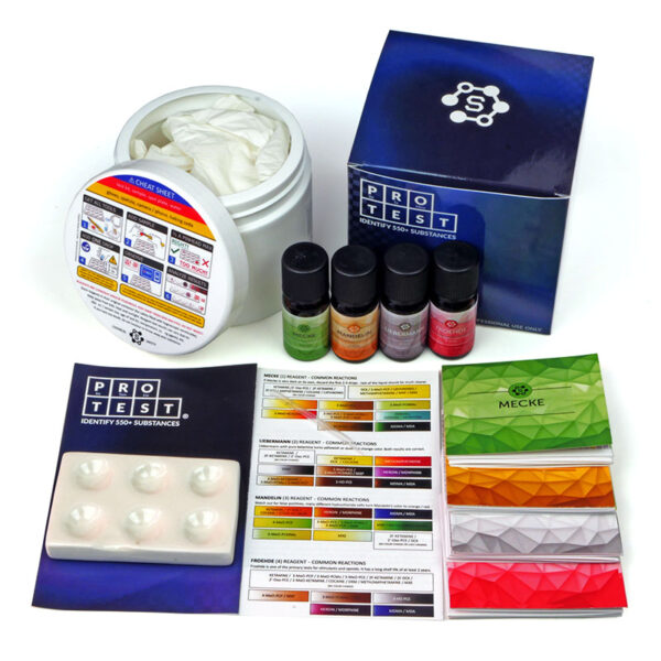 Ketamine test kit with Mandelin reagent, Mecke, Liebermann and Froehde (100 tests each), spatula, reaction plate, instructions and reaction color chart