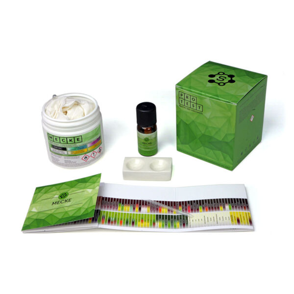 Mecke reagent test kit includes the reagent, a spatula, a reaction plate, instructions and reaction color chart