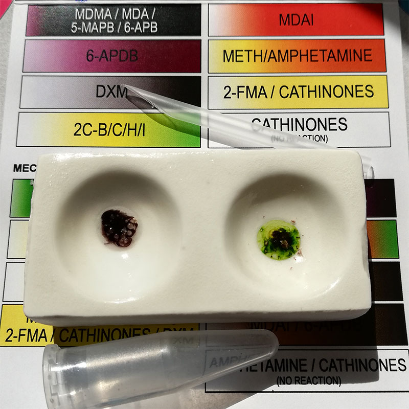 Marquis reagent tests for MDMA and 2C-B