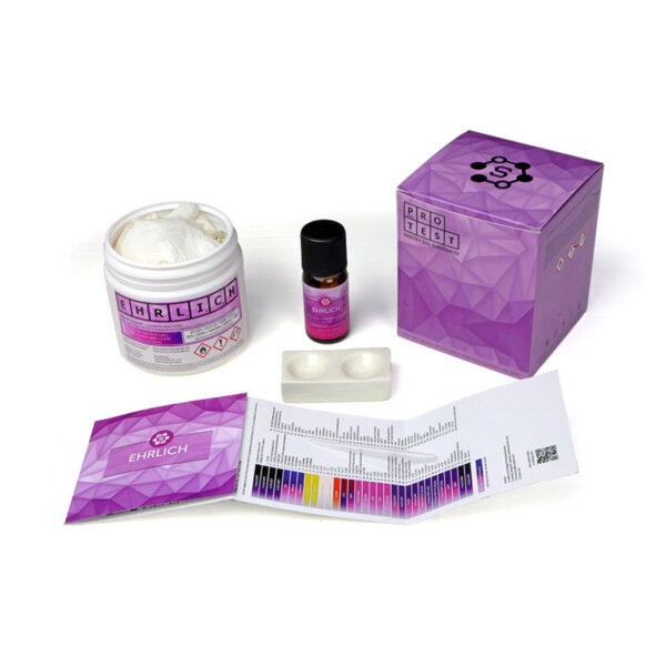 Ehrlich reagent test kit includes the reagent, a spatula, a reaction plate, instructions and reaction color chart