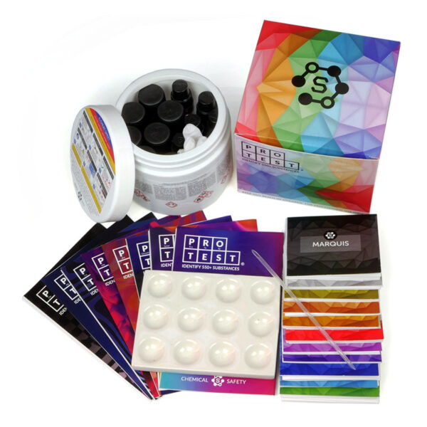 Fukk reagent test kit with 12 reagents, a spatula, a reaction plate, instructions and reaction color chart