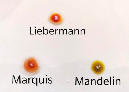 How to test cocaine with reagent test Marquis, Liebermann and Mandelin