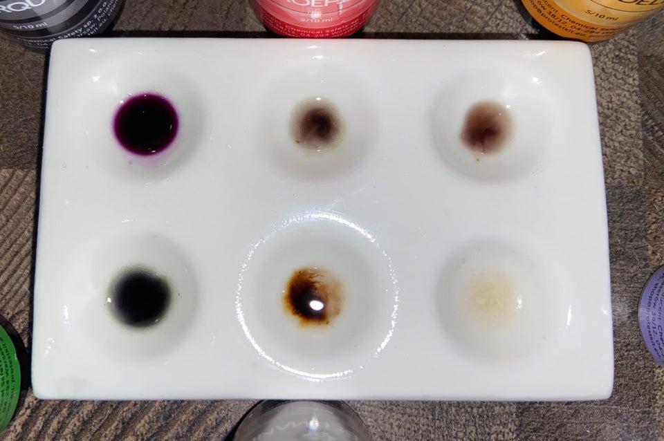 Ketamine test results with Mandelin reagent, Mecke, Froehde, Liebermann.